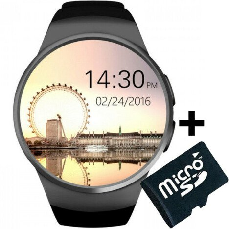 Ceas Smartwatch cu Telefon iUni KW18, Touchscreen 1.3 Inch, Notificari, iOS, Android, Black + Card M